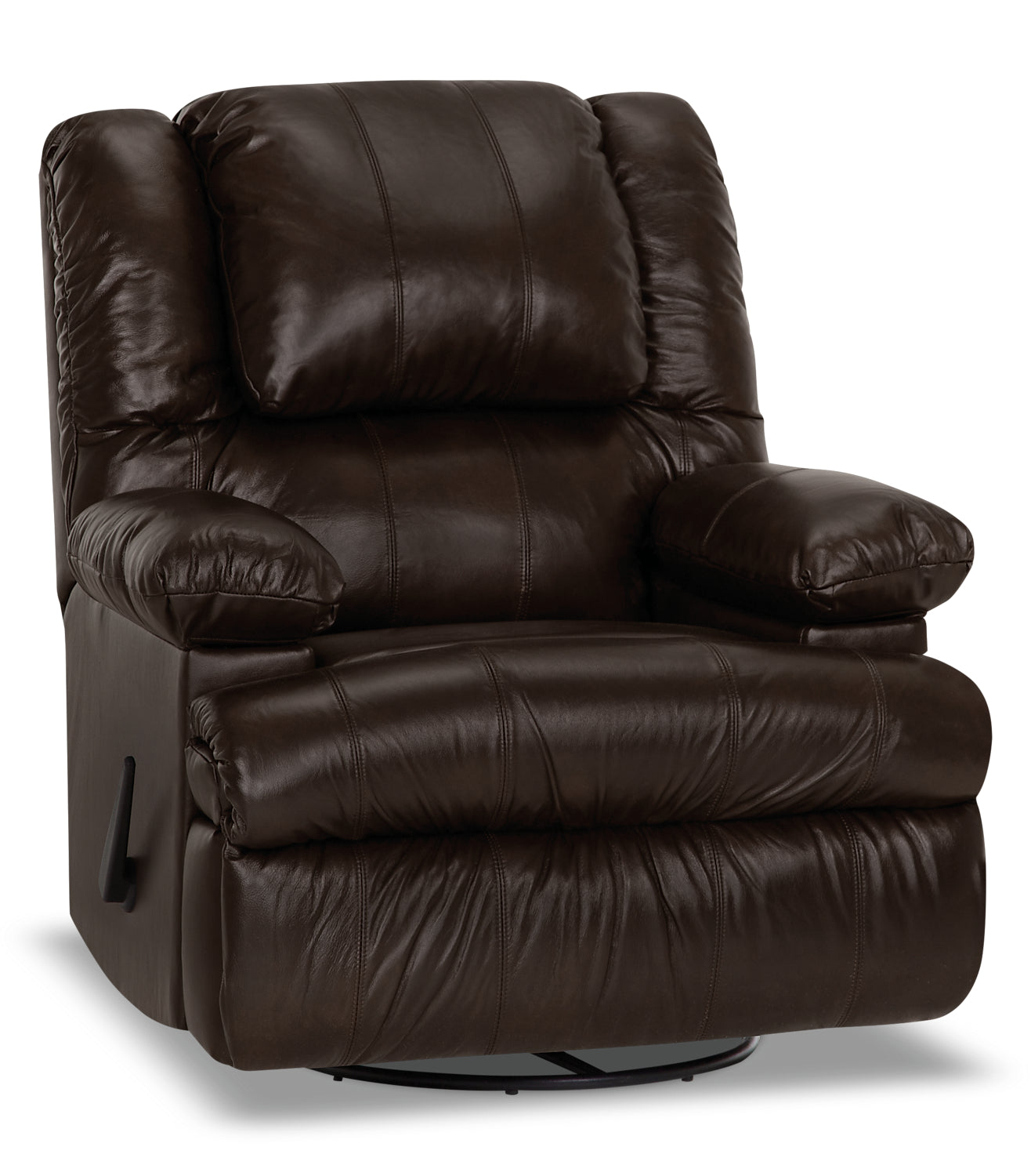 Designed2b 5598 genuine leather swivel recliner with storage arms columbus chocolatefauteuil pivotant inclinable 5598 design à mon image cuir accoudoirs