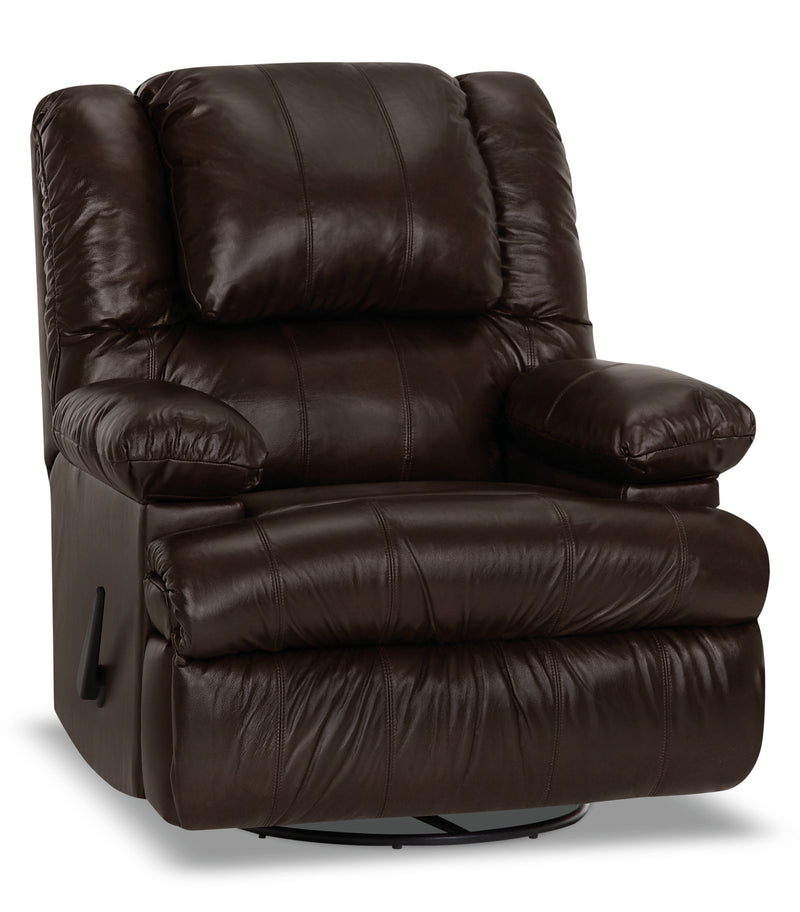 Designed2B 5598 Genuine Leather Swivel Recliner with Storage Arms - Columbus Chocolate|Fauteuil pivotant inclinable 5598 Design à mon image cuir accoudoirs de rangement - chocolat|5598SRCC