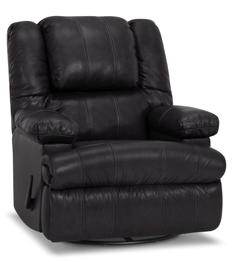 Designed2B 5598 Genuine Leather Swivel Recliner with Storage Arms - Weston Granite|Fauteuil pivotant inclinable 5598 Design à mon image cuir véritable, accoudoirs rangement - granite