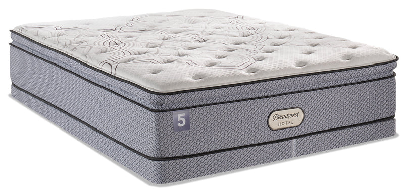 Beautyrest Hotel 5 Hi-Loft Pillowtop Low-Profile Split Queen Mattress Set|Ensemble matelas à plateau-coussin épais divisé à profil bas BeautyRestMD Hotel 5 pour grand lit