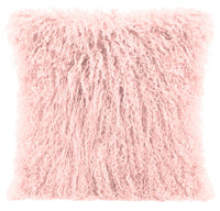 Mongolian Sheepskin Accent Pillow - Rose