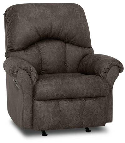 Designed2B 6734 Leather-Look Fabric Power Rocker Recliner - Commodore Shadow