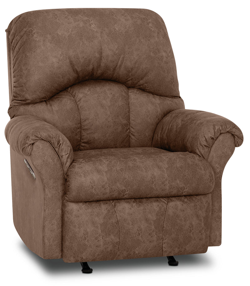 Designed2B 6734 Leather-Look Fabric Power Rocker Recliner - Commodore Tan