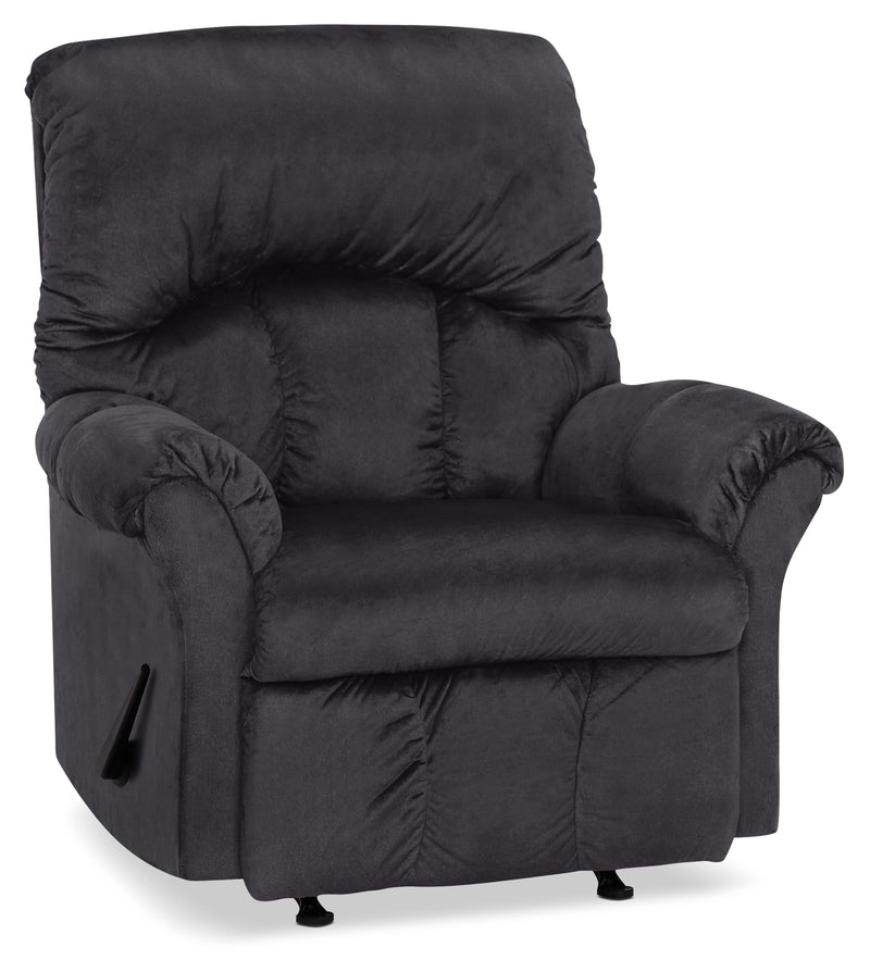 Designed2B 6734 Chenille Rocker Recliner - Fighter Charcoal|Fauteuil berçant inclinable 6734 Design à mon image en chenille - anthracite battant