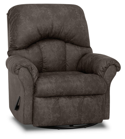 Designed2B 6734 Leather-Look Fabric Swivel Rocker Recliner - Commodore Shadow