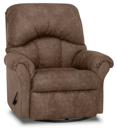 Designed2B 6734 Leather-Look Fabric Swivel Rocker Recliner - Commodore Tan