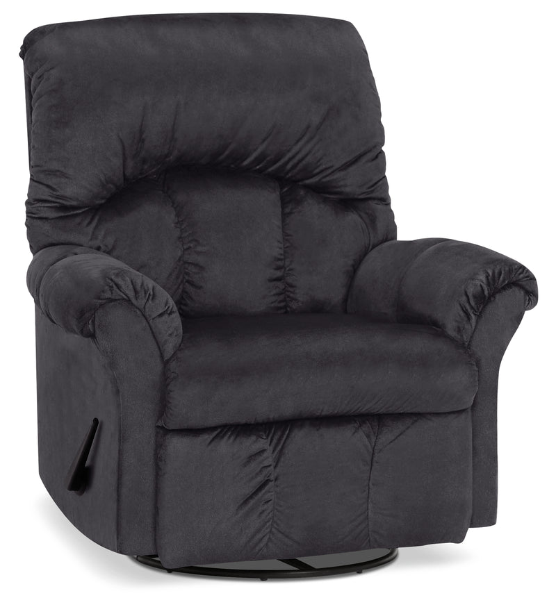 Designed2B 6734 Chenille Swivel Rocker Recliner - Fighter Charcoal|Fauteuil berçant pivotant inclinable 6734 Design à mon image en chenille - anthracite battant