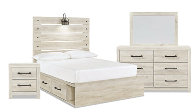 Abby 6-Piece Full Bedroom Package with Side Storage - {Rustic}, {Industrial} style Bedroom Package in White {Engineered Wood}