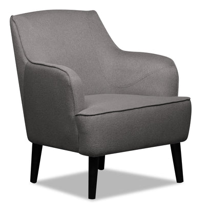 Aimy Linen-Look Fabric Accent Chair - Dark Grey - {Modern}, {Retro} style Accent Chair in Dark Grey {Plywood}, {Solid Woods}