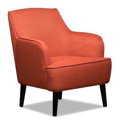 Aimy Linen-Look Fabric Accent Chair - Orange - {Modern}, {Retro} style Accent Chair in Orange {Plywood}, {Solid Woods}
