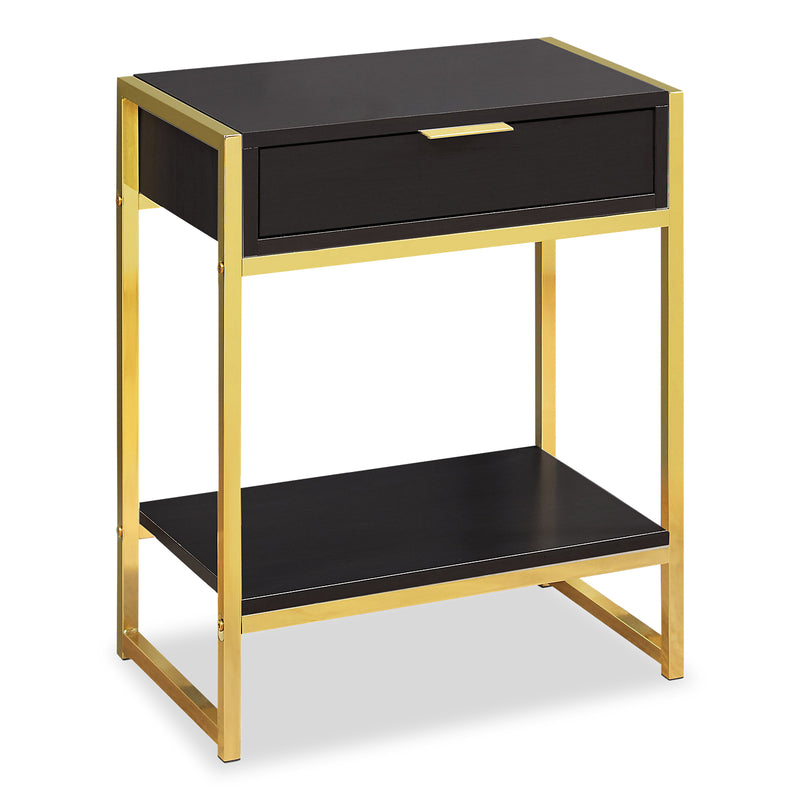 Alice Cappuccino and Gold Accent Table | Table d'appoint Alice cappuccino et doré métallique