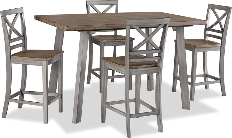 Amelia 5-Piece Counter-Height Dining Package – Grey|Ensemble de salle à manger Amelia 5 pièces de hauteur comptoir - gris