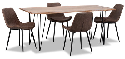Amita 5-Piece Dining Table - Brown - {Modern} style Dining Room Set in Brown {Acacia}, {Metal}