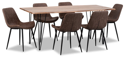 Amita 7-Piece Dining Table - Brown - {Modern} style Dining Room Set in Brown {Acacia}, {Metal}