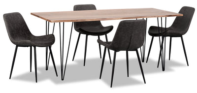 Amita 5-Piece Dining Table - Grey - {Modern} style Dining Room Set in Grey {Acacia}, {Metal}
