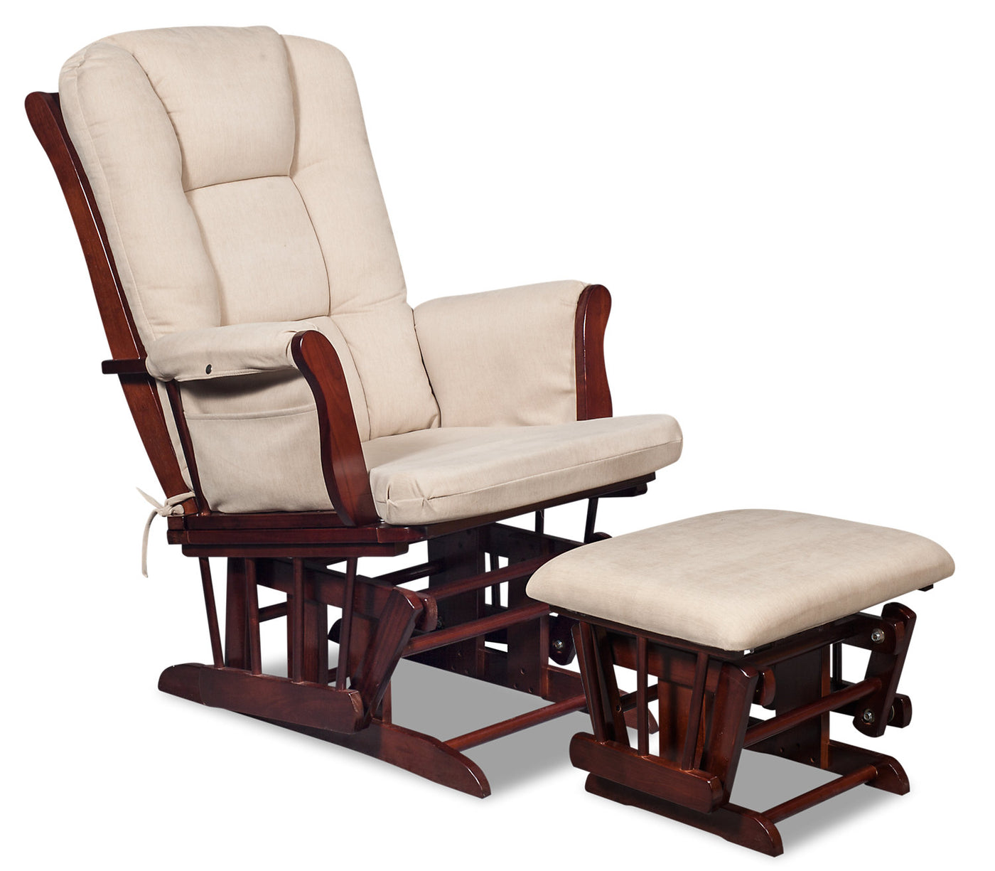 Anita Microsuede Gliding Chair With Ottoman Espresso And Beige