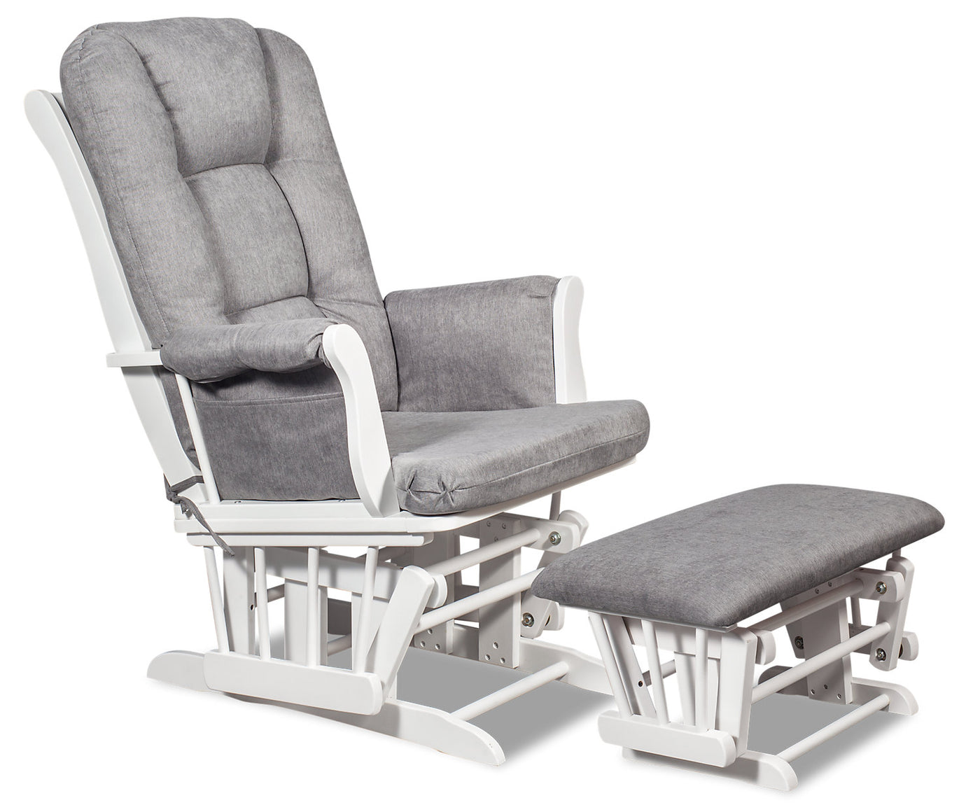 Anita Microsuede Gliding Chair with Ottoman - White and Grey