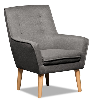 Arni Linen-Look Fabric Accent Chair - Dark Grey - {Modern}, {Retro} style Accent Chair in Dark Grey {Plywood}, {Solid Woods}