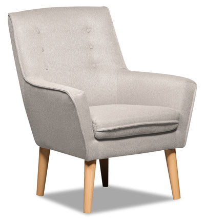 Arni Linen-Look Fabric Accent Chair - Grey - {Modern}, {Retro} style Accent Chair in Grey {Plywood}, {Solid Woods}