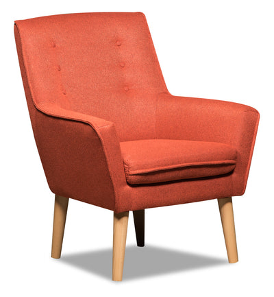 Arni Linen-Look Fabric Accent Chair - Orange - {Modern}, {Retro} style Accent Chair in Orange {Plywood}, {Solid Woods}