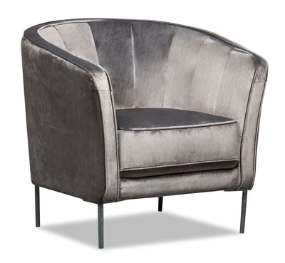 Ashley Velvet Accent Chair - Grey|Fauteuil d'appoint Ashley en velours - gris|ASHLGYAC