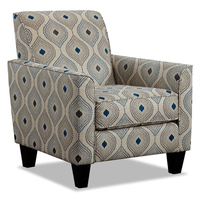 August Linen-Look Fabric Accent Chair - Electric Blue
