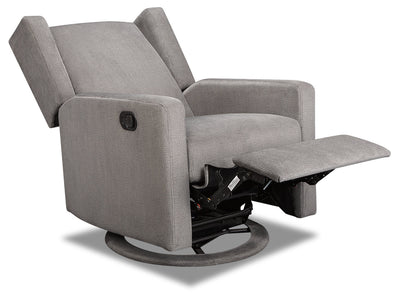 Ava Velvet Swivel Glider Recliner - Charcoal|Fauteuil pivotant, coulissant et inclinable Ava en velours - anthracite|AVAGRYRC
