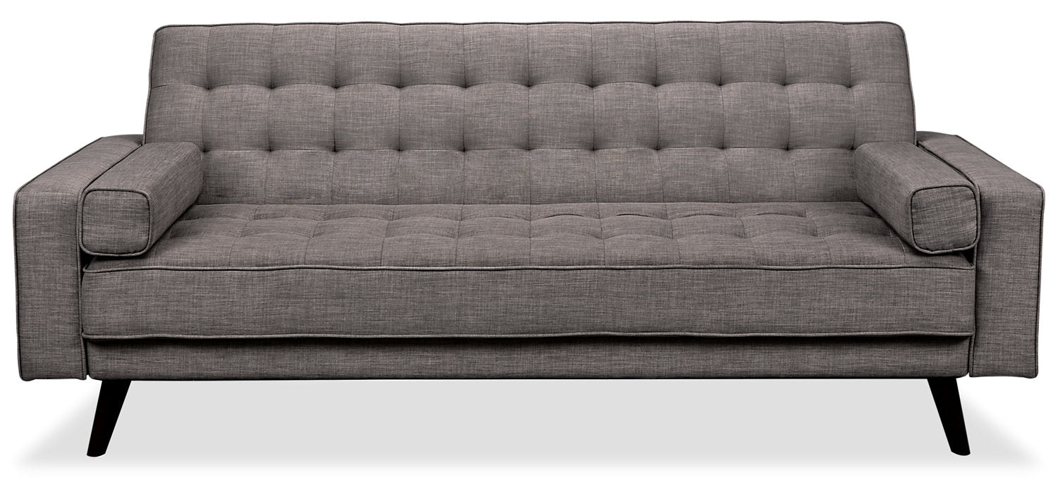 Avery Linen Look Fabric Futon Grey The Brick