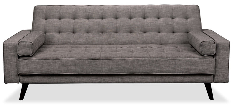 Avery Linen-Look Fabric Futon – Grey - {Modern}, {Retro} style Futon in Grey {Solid Woods}