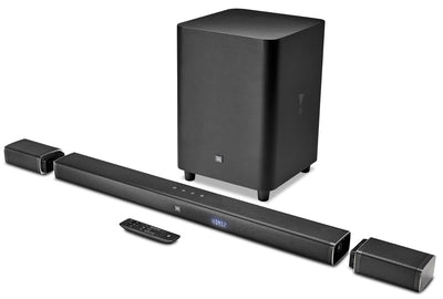 JBL 5.1 Channel 4K Ultra HD Soundbar with True Wireless Surround Speakers - JBLBAR51BLKAM|Barre de son 5.1 canaux Ultra HD 4K avec des enceintes de son surround sans fil - JBLBAR51BLKAM| BAR51BAR