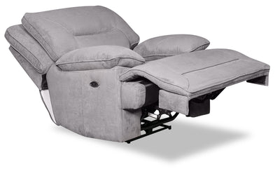 Beau Faux Suede Power Recliner - Grey - {Contemporary} style Chair in Grey {Plywood}, {Solid Woods}