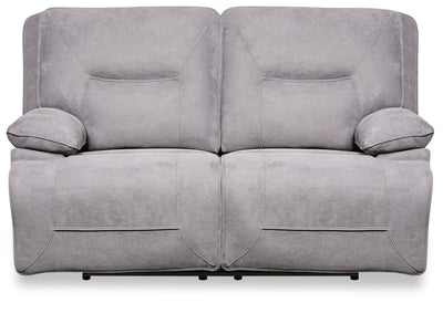 Beau Faux Suede Power Reclining Loveseat - Grey - {Contemporary} style Loveseat in Grey {Plywood}, {Solid Woods}