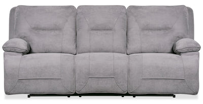 Beau Faux Suede Power Reclining Sofa - Grey|Sofa à inclinaison électrique Beau en suédine - gris|BEAFGYPS