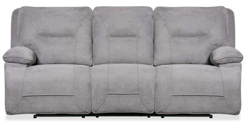 Beau Faux Suede Power Reclining Sofa - Grey - {Contemporary} style Sofa in Grey {Plywood}, {Solid Woods}