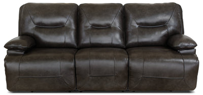 Beau Genuine Leather Power Reclining Sofa – Grey|Sofa à inclinaison électrique Beau en cuir véritable - gris|BEAUGYPS