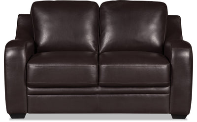 Benson Leather-Look Fabric Loveseat - Dark Brown - {Modern} style Loveseat in Dark Brown {Pine}, {Plywood}
