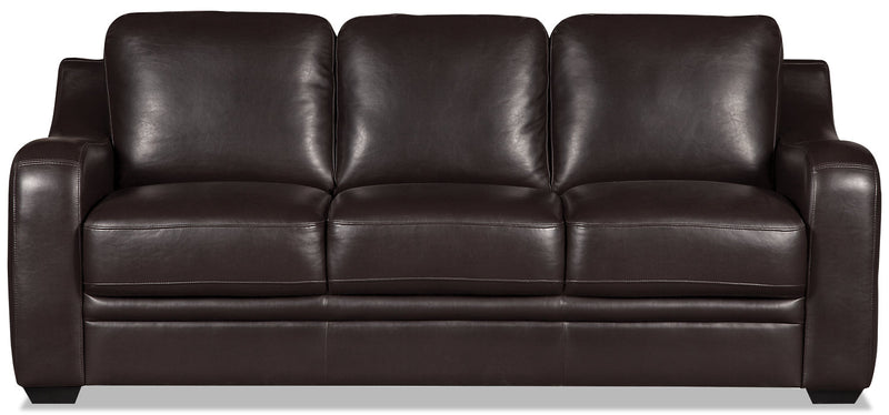 Benson Leather-Look Fabric Sofa Bed - Dark Brown|Sofa-lit Benson en tissu d'apparence cuir - brun foncé