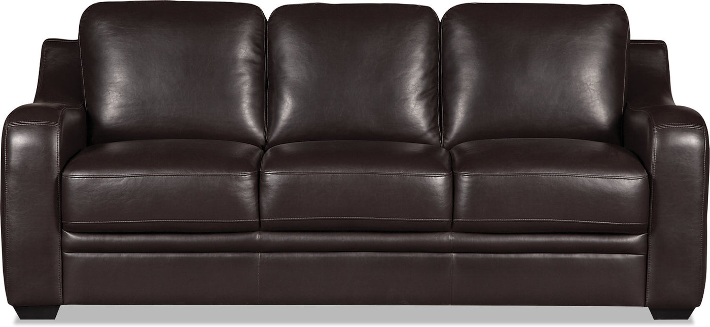Benson Leather-Look Fabric Sofa - Dark Brown