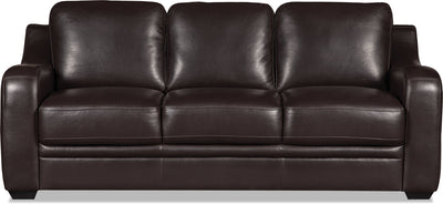 Benson Leather-Look Fabric Sofa - Dark Brown - {Modern} style Sofa in Dark Brown {Pine}, {Plywood}
