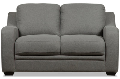 Benson Linen-Look Fabric Loveseat - Grey - {Modern} style Loveseat in Grey {Pine}, {Plywood}