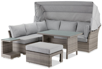 Bermuda 6-Piece Modular Sectional Package with Sunshade|Ensemble sofa sectionnel modulaire Bermuda 6 pièces avec parasol|BERM6SET