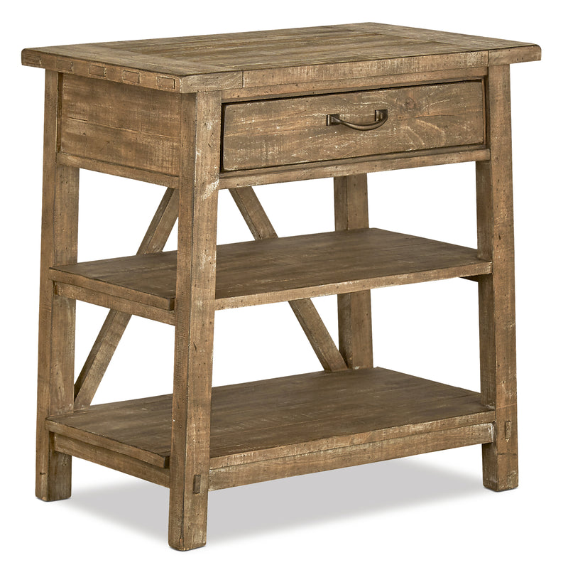 Bluff Heights Nightstand with Open Shelving – Weathered Nutmeg|Table de nuit avec tablettes ouvertes - muscade vieillie