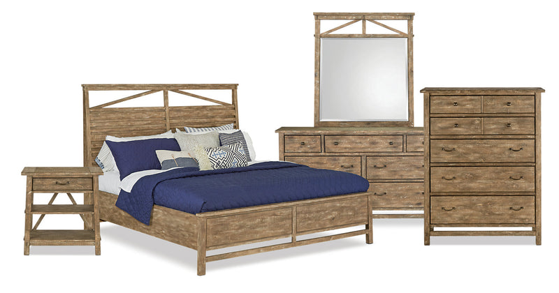 Bluff Heights 7-Piece Queen Bedroom Package – Weathered Nutmeg|Ensemble de chambre à coucher Bluff Heights 7 pièces avec grand lit - muscade vieillie