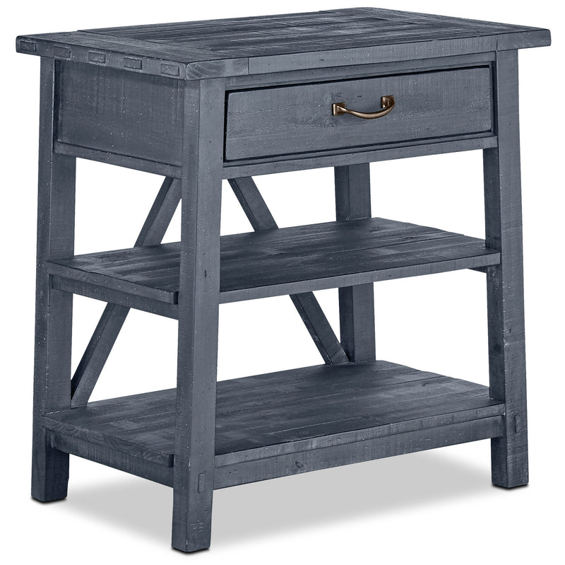 Bluff Heights Nightstand with Open Shelving – Navy|Table de nuit avec tablettes ouvertes - bleu marine