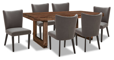 Brownstone 7-Piece Dining Set - Grey - {Rustic}, {Contemporary} style Dining Room Set in Grey {Asian Hardwood}