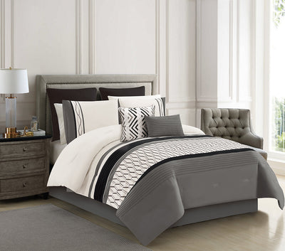 Brecken 8-Piece Queen Comforter Set|Ensemble d'édredon Brecken 8 pièces pour grand lit|BRECK8QU