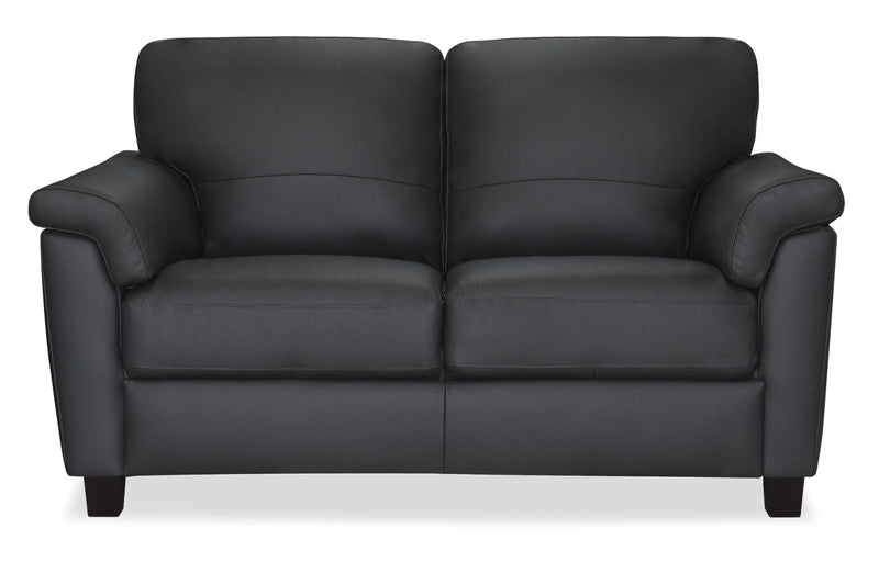 Briar 100% Genuine Leather Loveseat - Dark Grey|Causeuse Briar en cuir 100 % véritable - gris foncé