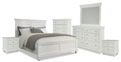 Bridgeport 8-Piece King Bedroom Set – White|Ensemble de chambre à coucher Bridgeport 8 pièces avec très grand lit - blanc|BRIDGWKP8