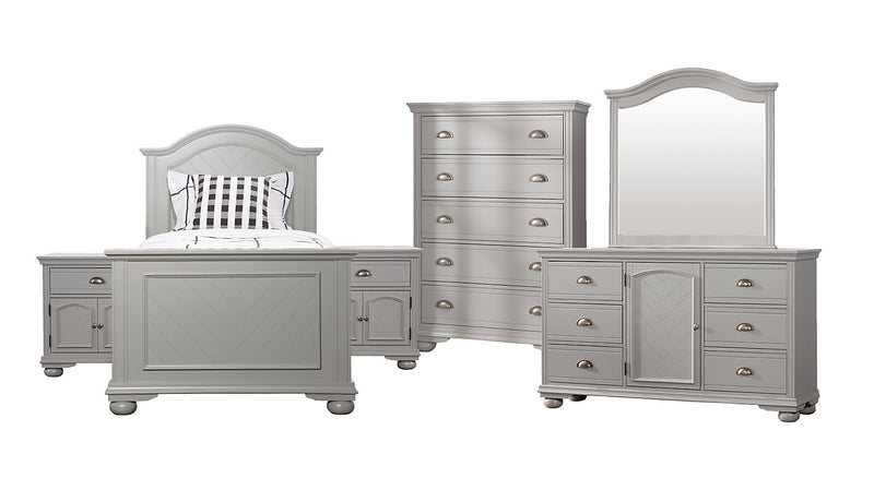 Brooke 8-Piece Twin Bedroom Package – Grey|Ensemble de chambre à coucher Brooke 8 pièces avec lit simple - gris