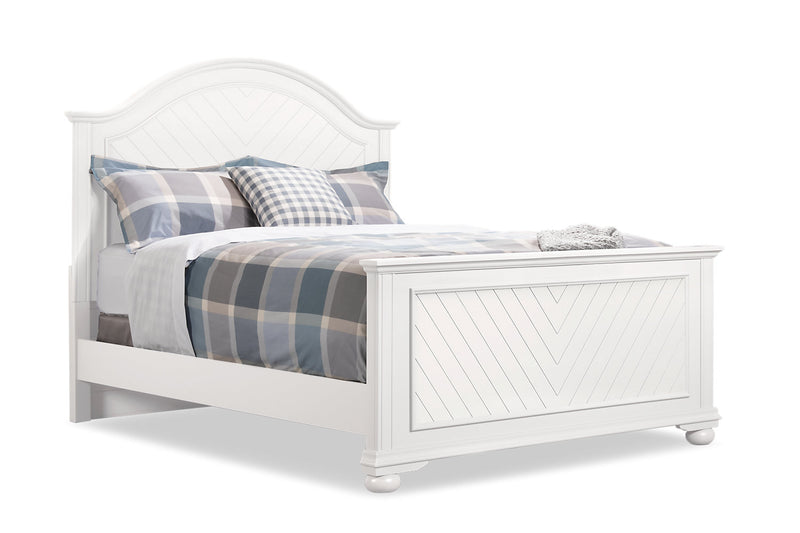 Brooke King Bed – White|Très grand lit Brooke - blanc cassé